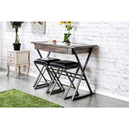 Wood Wine Bar Table With Storage Drawer, Weathered Gray ()