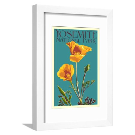 Yosemite National Park, California - Poppy Turquoise Teal Vintage Travel Advertisement Framed Print Wall Art By Lantern Press