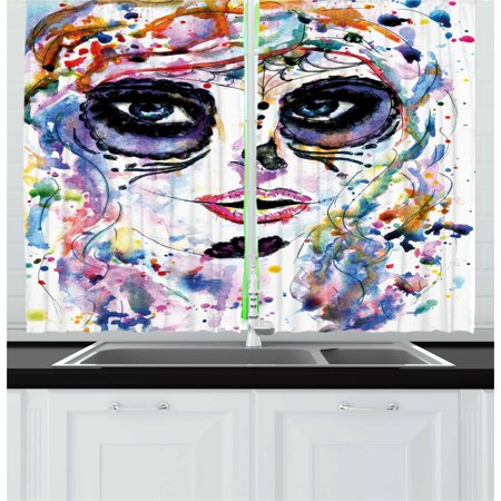 Sugar Skull Curtains 2 Panels Set, Halloween Girl with Sugar Skull Makeup Watercolor Painting Style Creepy Look, Window Drapes for Living Room Bedroom, 55W X 39L Inches, Multicolor, by Ambesonne for $<!---->