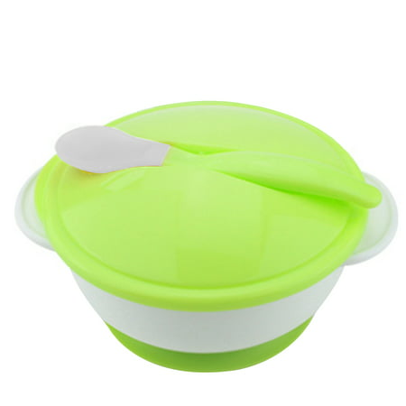 Baby Feeding Bowl with Sucker and Temperature Sensing Spoon Suction Cup Bowl Dishes Tableware Set for Children - Mystery Bowls For Halloween