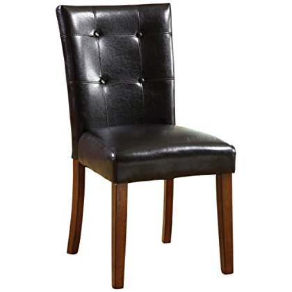 Furniture of America Moraga Parson Leatherette Dining Chair, Dark Oak, Set of 2