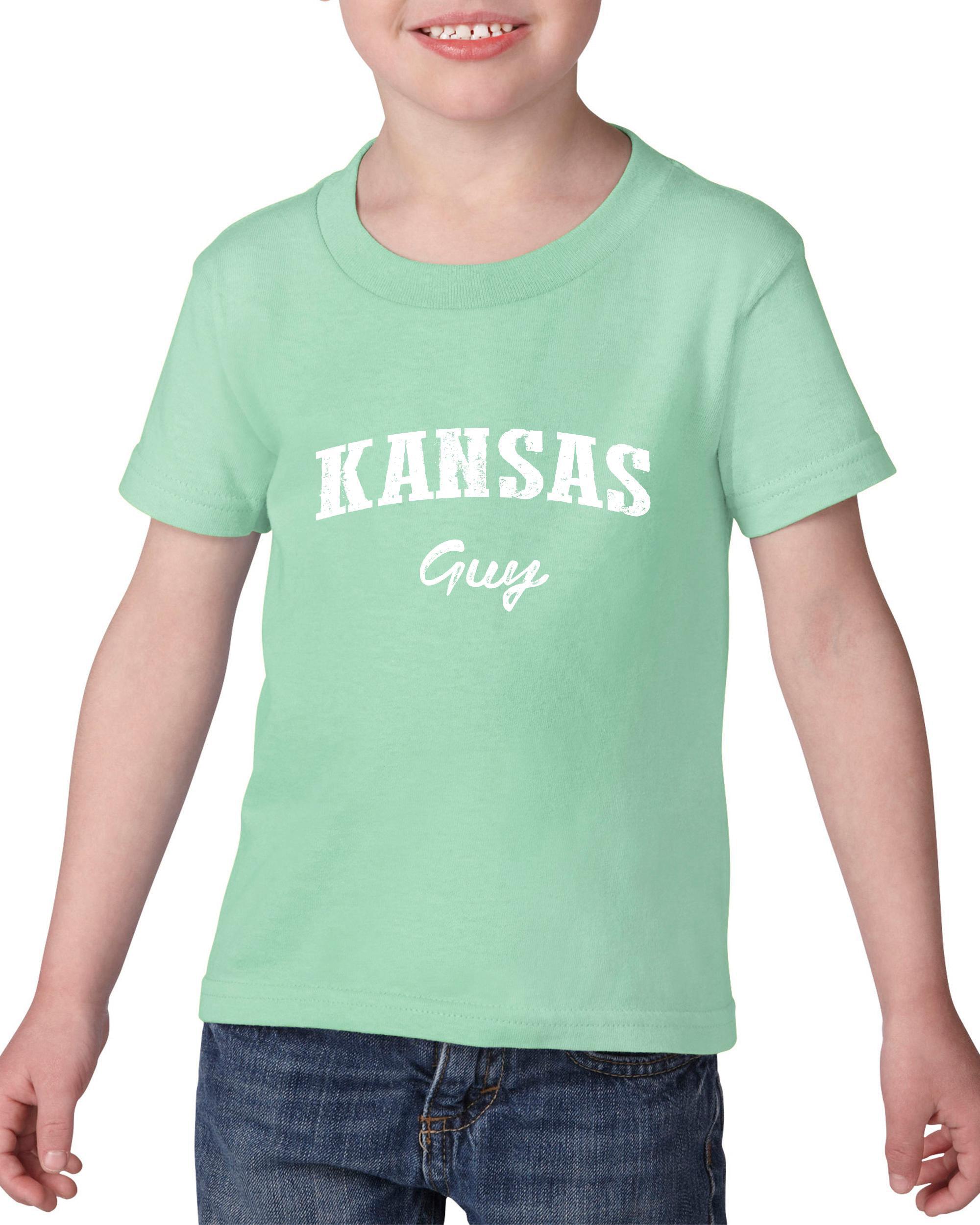 Artix KS Guy Kansas Map Wichita Topeka Flag  Jayhawks Home Kansas University KU Heavy Cotton Toddler Kids T-Shirt Tee Clothing