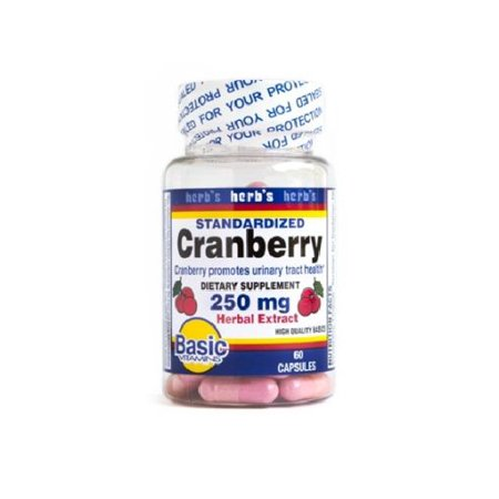 Basic Vitamins Standardized Cranberry Extract 250mg,promotes urinary track,60
