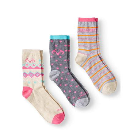 Novelty Crew Socks, 3 Pairs (Little Girls & Big Girls)