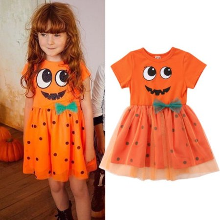Fashion New Halloween Party Pumpkin Costume Cute Tutu Tulle Lace Dress Toddler Baby Girl Princess Dress Clothes 1-5T](Halloween Girl Dress)