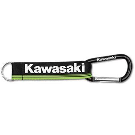 Kawasaki Green - Kawasaki 3 Green Lines Carabinier Keychain Black K068-8916-BKNS