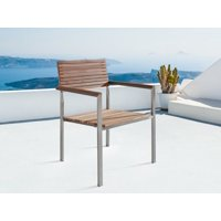 Modern Outdoor Patio Dining Chair Silver Stainless Steel Teak Solid Wood Viareggio