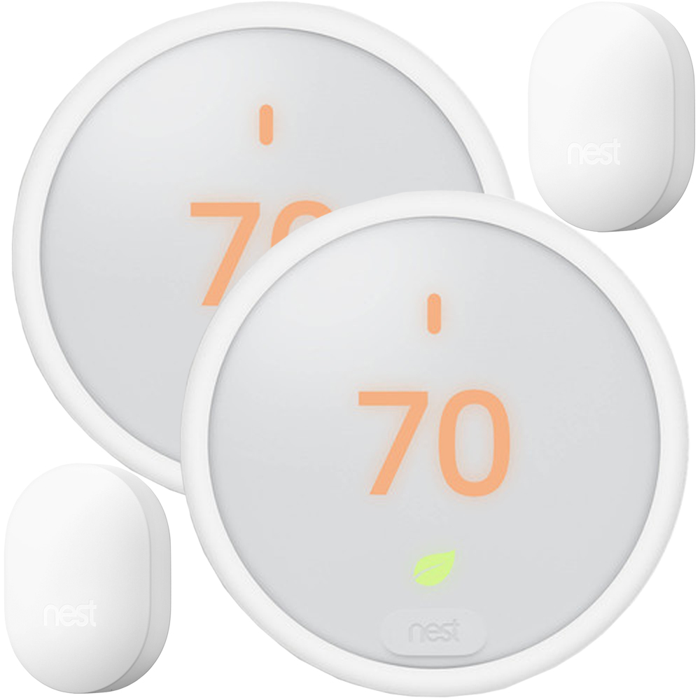 2-Pack Nest T4000ES Learning Thermostat E with 2x Connect white
