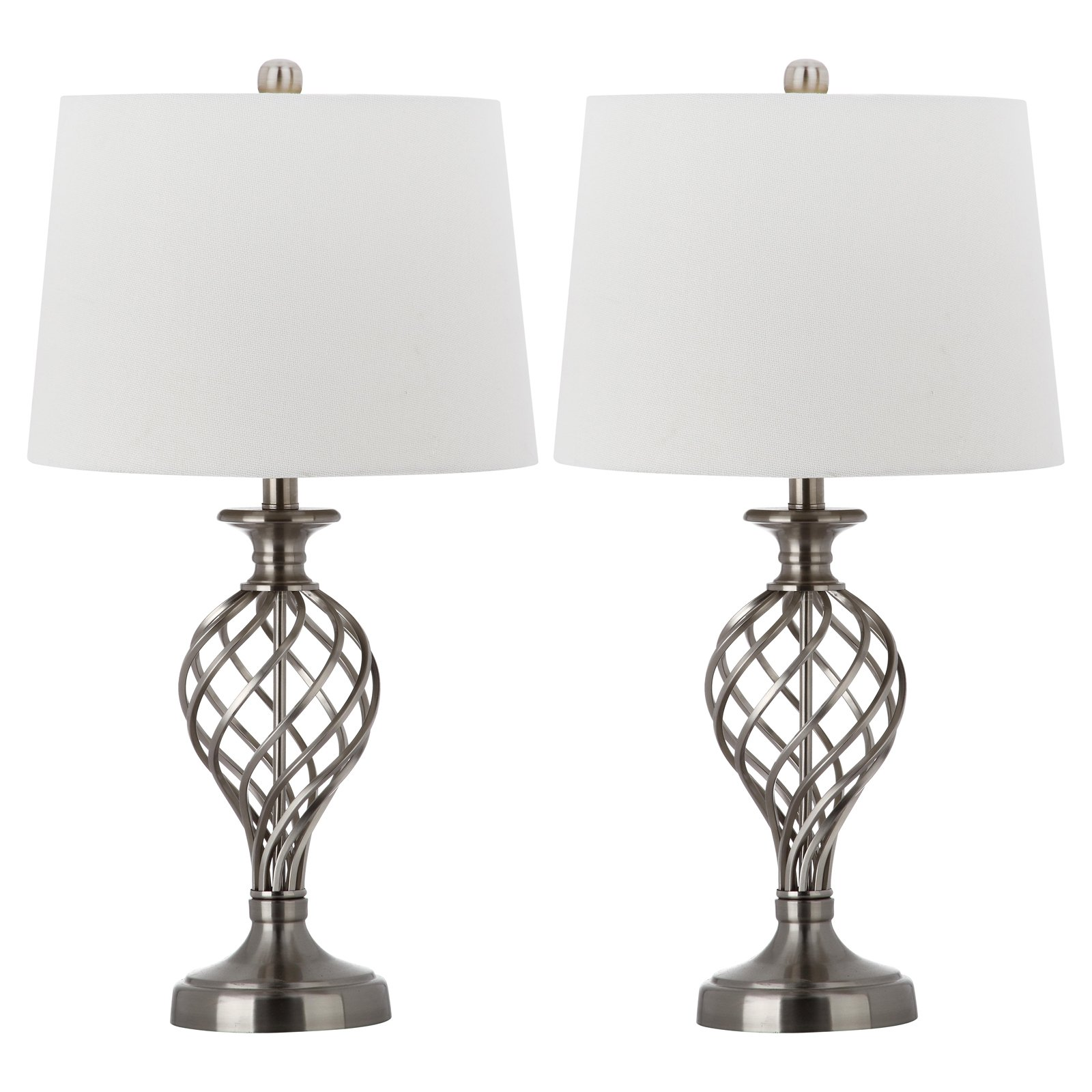 Safavieh Lattice Urn Table Lamp With Cfl Bulb Nickel With Off White