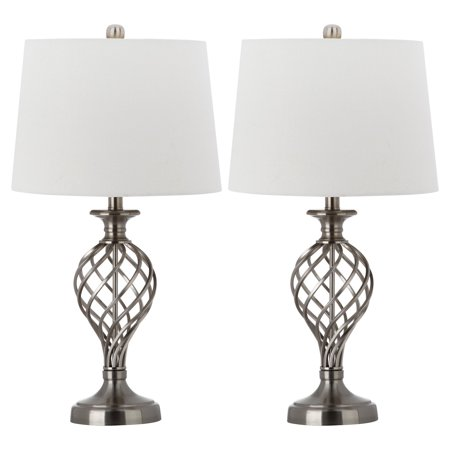 Safavieh Lattice Urn Table Lamp with CFL Bulb, Nickel with Off-White Shade, Set of (Lattice Urn)