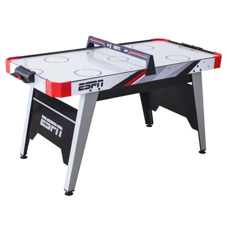 ESPN 60 Inch Air Powered Hockey Table with Overhead Electronic Scorer, UL Certified Fan Motor, Pushers and Pucks Included, Blue/Red