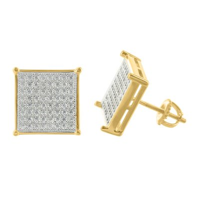 Yellow Gold Finish Earrings Square Shape Designer Micro Pave Simulated Diamonds