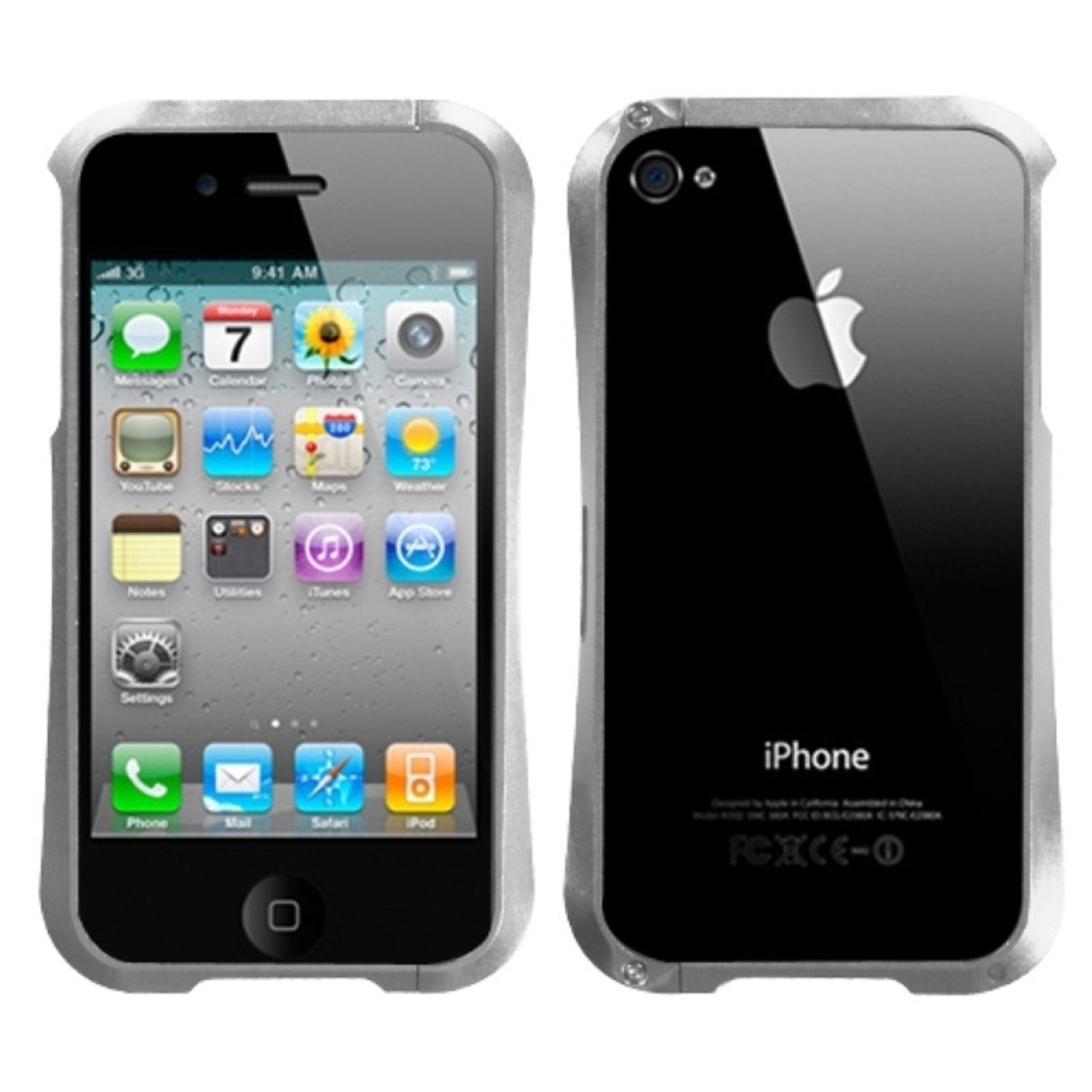 Insten Silver Nitro Surround Shield with Chrome Metal Case For APPLE iphone 4S/4