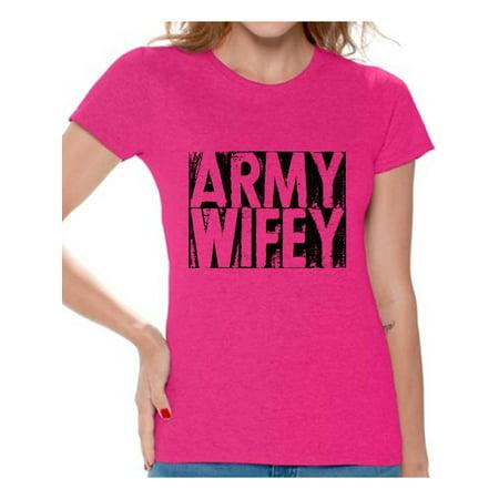 Awkward Styles Army Wifey Shirt Army Wife T Shirt Valentine's Day Gift Army Wife Devotional Tshirt Valentine Shirts for Women Army Wife Gifts Proud Army Wife Women's T-Shirt Army Wifey (Army Wife Button)