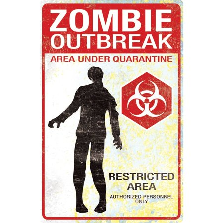 Zombie Outbreak Metal Sign Halloween - Halloween Decorations Signs