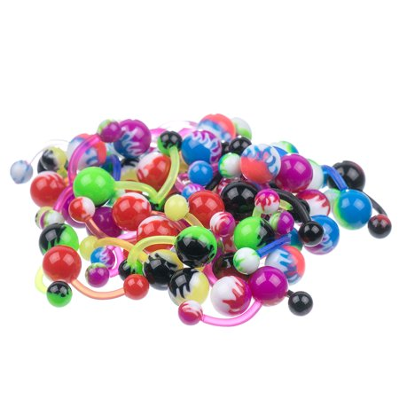 Lot 100 Pc Uv Flames Assortment Flexible Belly Button Rings Mix Piercing Jewelry
