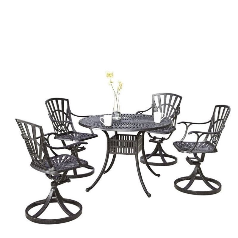 Bowery Hill 5 Piece Patio Dining Room Set in Charcoal by Bowery Hill