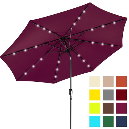 Bcp 10ft Deluxe Patio Umbrella W Solar Led Lights Tilt Adjustment Multicolor