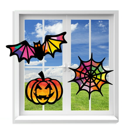 Halloween Party Drinking Glasses (VHALE Suncatcher Kit for Kids, Stained Glass Paper Suncatchers (9 Cutouts), Window Art, Classroom Arts and Crafts, Party Favors, 3 Sets)