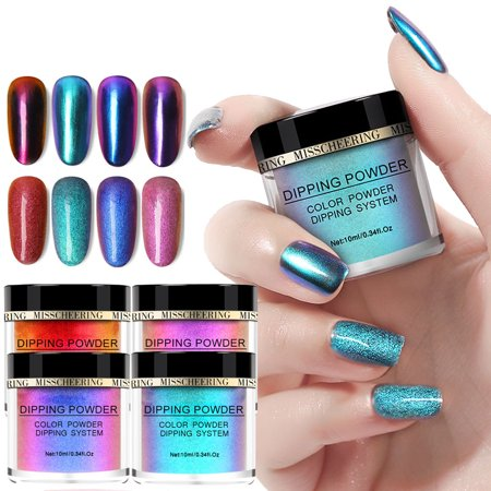 4PCS Chameleon Dip Powder Without Lamp Cure Natural Dry Nail Art Mirror Effect