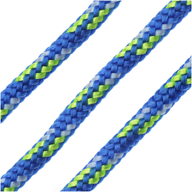 Parachute Cord, Multi-Colored Nylon Strands 2.5mm Thick, 5 Meters, Royal Blue / Neon Green
