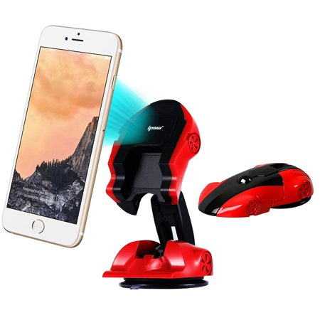 IPOW Creative Magnetic Car Phone Mount Holder Dash/Window,Red Soprts Car Modeling One Button Transform Mobile Devices Cradle, Green Monday /...
