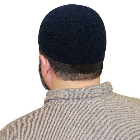 Stitch Design Hats (Muslim Mens Prayer Kufi Cap Black Hat with Diamond & Sawtooth Stitch)