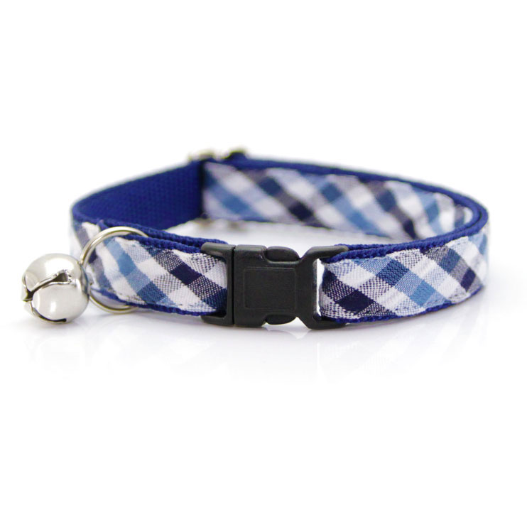 """Made By Cleo """"Kingston"""" Plaid Blue Breakaway Cat Collar Adult Cat Size (Adjustable 8-13 Inches) by Made By Cleo"""