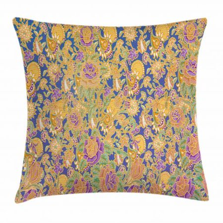 Indonesia Batik (Asian Throw Pillow Cushion Cover, Graphic Image of an Indonesian Batik Style Pattern with Flowers Traditional Vintage, Decorative Square Accent Pillow Case, 18 X 18 Inches, Multicolor, by Ambesonne )