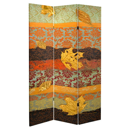 Oriental Furniture Double Sided October Gold Canvas 3 Panel Room Divider ()