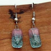 Tili Glass Glass Earrings, Pink & Blue - Small