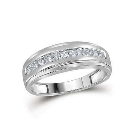 10kt White Gold Mens Princess Diamond Ring Single Row Wedding Band Ring 1/2 Cttw