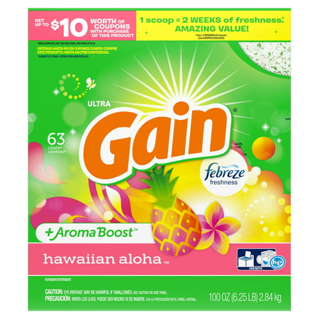 Gain Powder Laundry Detergent for Regular and HE Washers, Hawaiian Aloha Scent, 100 ounces 63 loads