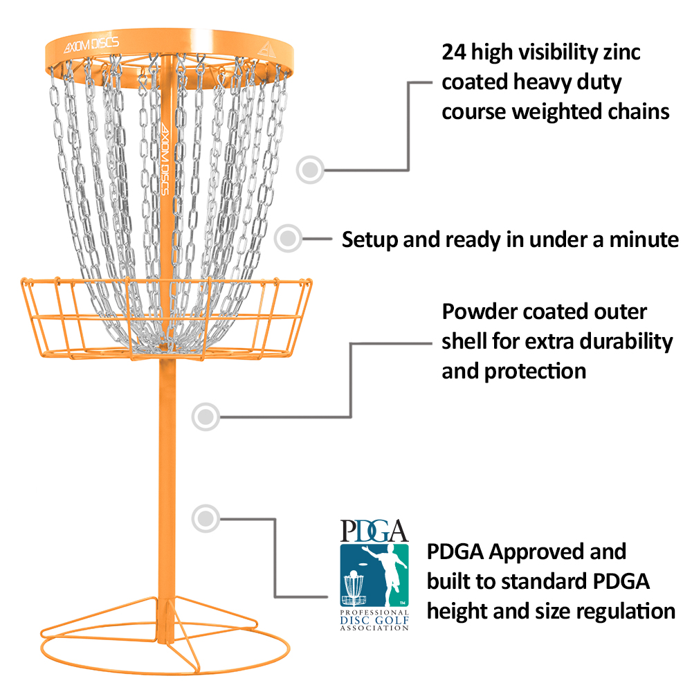 Axiom Discs Pro 24-Chain Disc Golf Basket Light Blue by