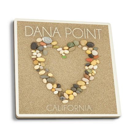 Dana Point  California   Stone Heart On Sand   Lantern Press Photography  Set Of 4 Ceramic Coasters   Cork Backed  Absorbent