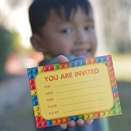 Building Blocks Birthday Party Invitations 8 Pcs White Paper Envelopes