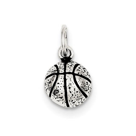 Sterling Silver Antiqued Basketball Charm - 1.3 Grams