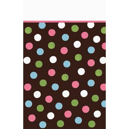 Disposable Plastic Lined, Paper Table Cover in Chocolate Multicolored Polka Dots Fits 8
