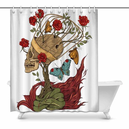 POP Skull, Bush Of Roses, Snake and and Flame Bathroom Shower Curtain 60x72 inch - image 1 of 1
