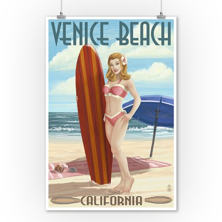 Venice Beach, California - Pinup Surfer Girl - Lantern Press Poster (9x12 Art Print, Wall Decor Travel (Venice Beach Girl)