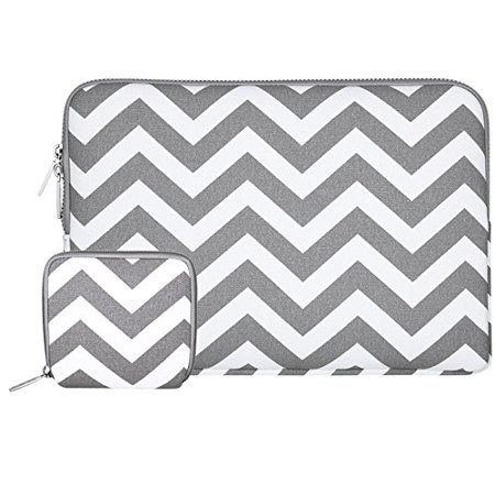 Mosiso Laptop Sleeve Bag for 15-15.6 Inch MacBook Pro, Notebook Computer with Small Case, Chevron Style Canvas Fabric Case Cover, Chevron Gray Black Red Gray Notebook Case