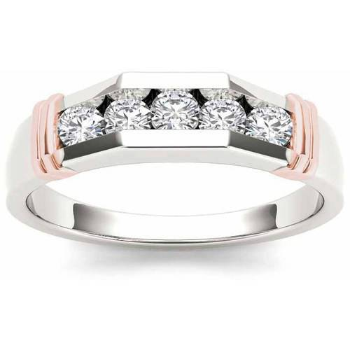 Imperial 1/2 Carat T.W. Diamond Pink Two-Tone Men's 14kt White Gold Ring