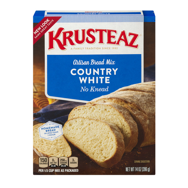 Krusteaz No Knead Artisan Bread Mix, Country White, 14-Ounce Box