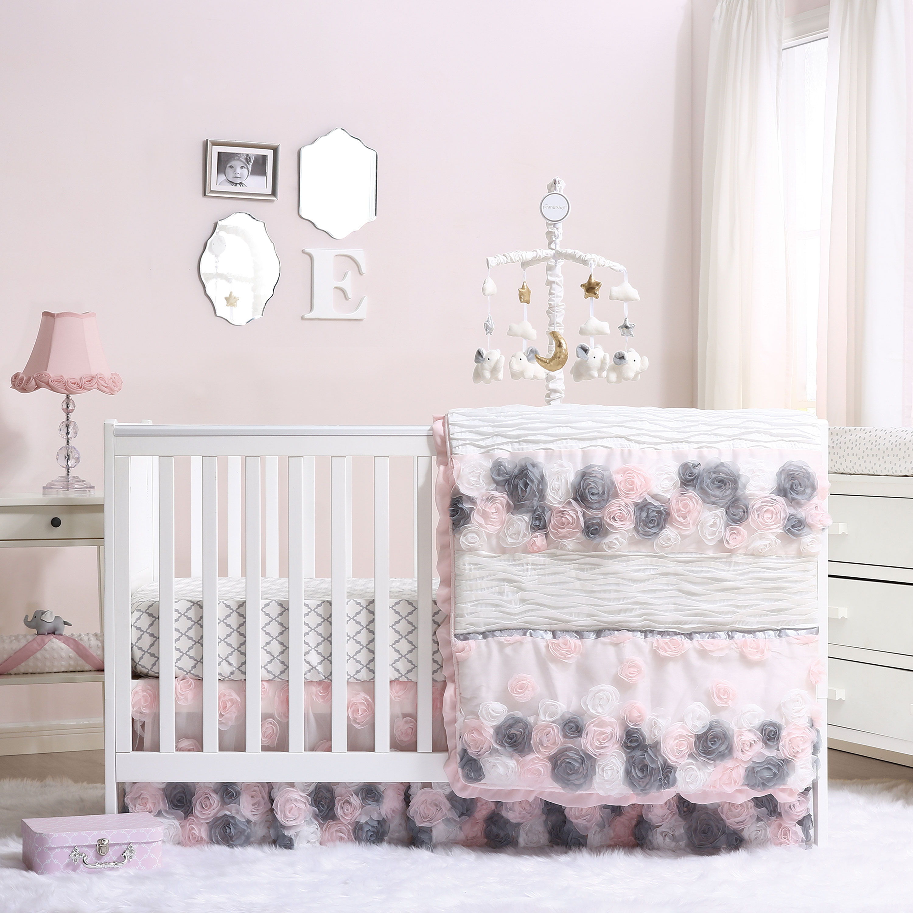 Colette Pink and Grey Floral 6 Piece Crib Bedding Set by ...