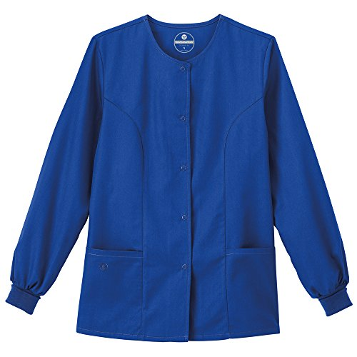 F3 Fundamentals By White Swan Women's Snap Front Warm Up Solid Scrub Jacket Small Galaxy Blue