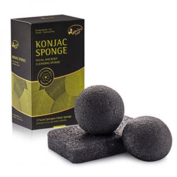 Kaiercat Konjac Facial & Body Sponge 100% Natural, Gentle Exfoliating, Deep Cleansing, for Sensitive, Oily & Acne Prone Skin (Bamboo Charcoal)