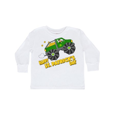 Happy St. Patrick's Day monster truck with leprechaun Toddler Long Sleeve T-Shirt - Happy Monster