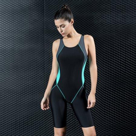 Fashion Women Sports One Piece Swimsuit Full Brief Knee Professional Swimwear Monokini Bathing Suit Slimming (Full Coverage Swimwear)