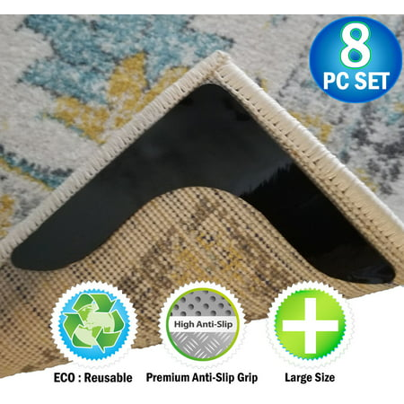 Reusable Corner Area Carpet Rug Grippers V Shaped Prevents Curling Moving Sliding