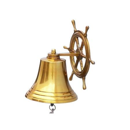 """Ship Wheel Brass Bell 6"""" - Nautical Brass Bell - Brass Nautical Bell - Brass Wall Hanging Bell - Marine Bell - Nautical Wall Hanging"""